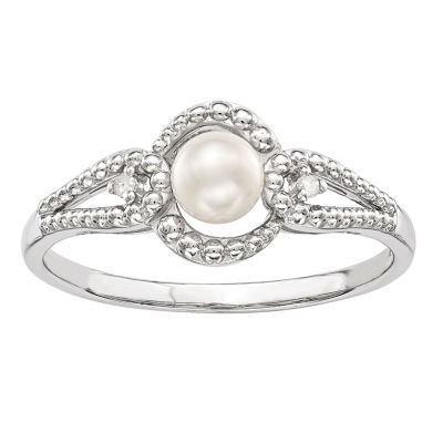 Womens Diamond Accent White Cultured Freshwater Pearl Sterling Silver Halo Cocktail Ring