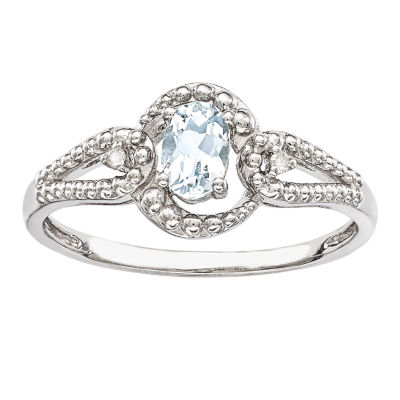 Womens Diamond Accent Genuine Blue Aquamarine Halo Cocktail Ring