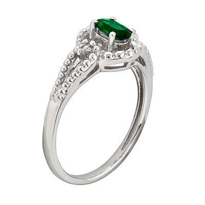 Womens Diamond Accent Lab Created Emerald Sterling Silver Halo Ring