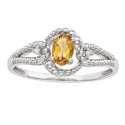 Womens Diamond Accent Genuine Yellow Citrine Sterling Silver Halo Cocktail Ring