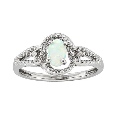 Womens Diamond Accent Lab Created White Opal Sterling Silver Halo Ring