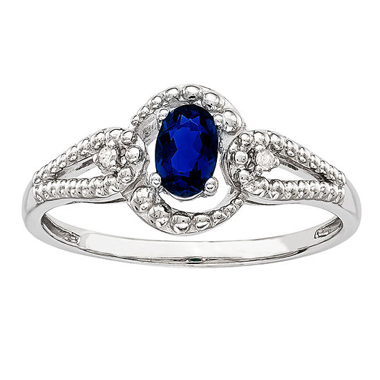 Womens Diamond Accent Lab Created Blue Sapphire Sterling Silver Halo Cocktail Ring