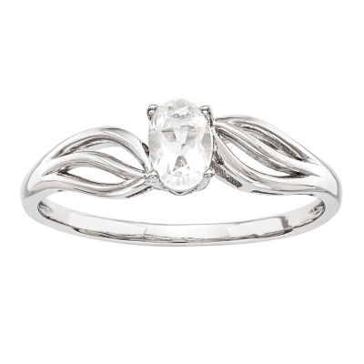 Womens Genuine White Topaz Sterling Silver Solitaire Cocktail Ring