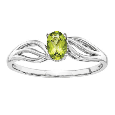 Womens Genuine Green Peridot Sterling Silver Solitaire Cocktail Ring