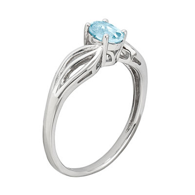 Womens Blue Blue Topaz Sterling Silver Solitaire Ring