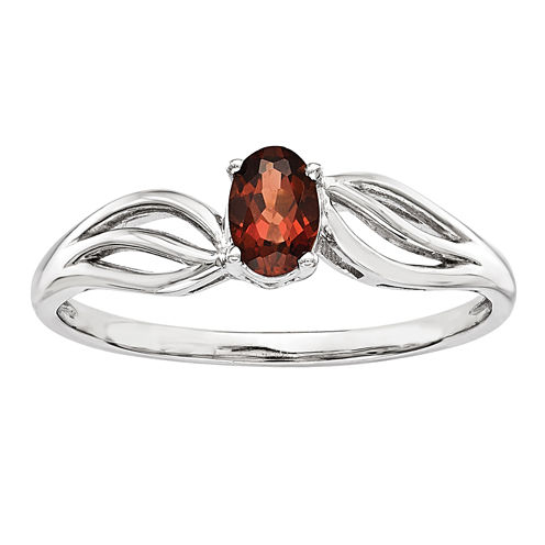 Womens Genuine Red Garnet Sterling Silver Solitaire Ring