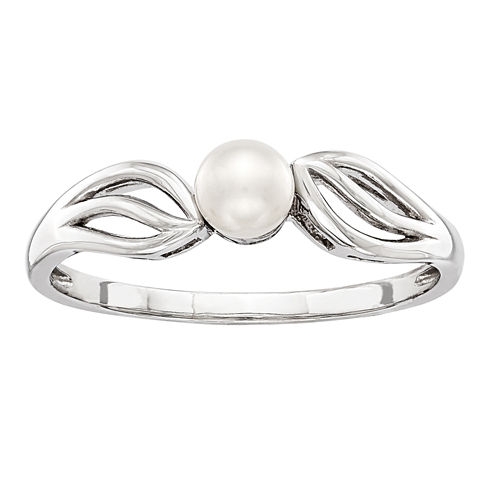 Womens White Pearl Sterling Silver Solitaire Ring
