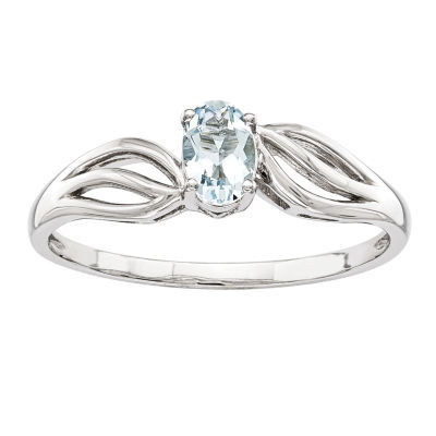 Womens Blue Aquamarine Sterling Silver Solitaire Cocktail Ring