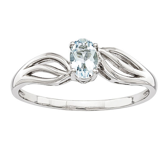 Womens Genuine Blue Aquamarine Sterling Silver Solitaire Cocktail Ring
