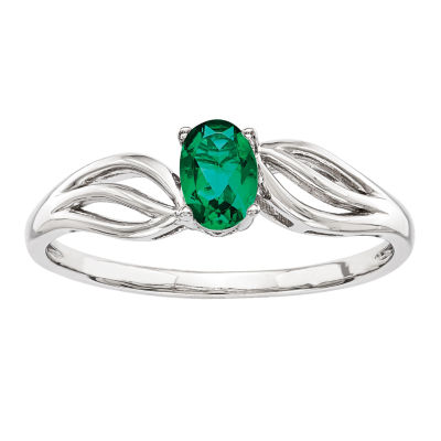 Womens Lab Created Green Emerald Sterling Silver Solitaire Ring