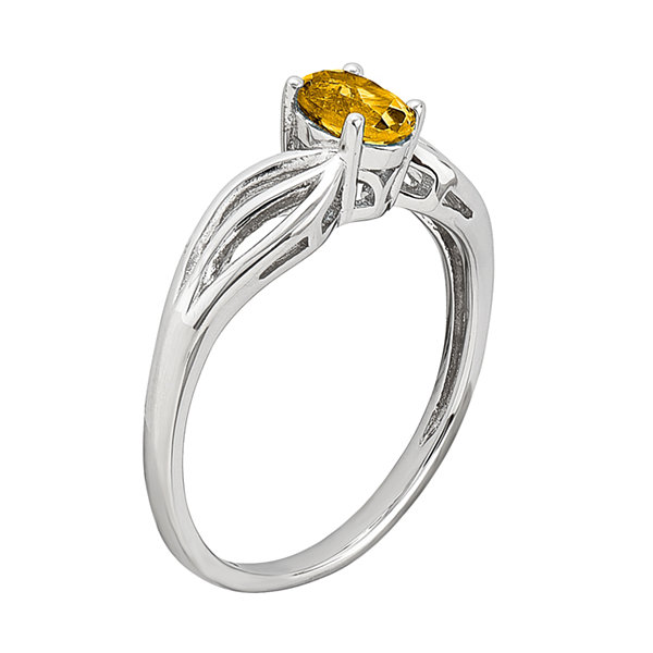 Womens Yellow Citrine Sterling Silver Solitaire Ring