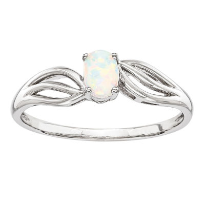 Womens White Opal Sterling Silver Solitaire Ring