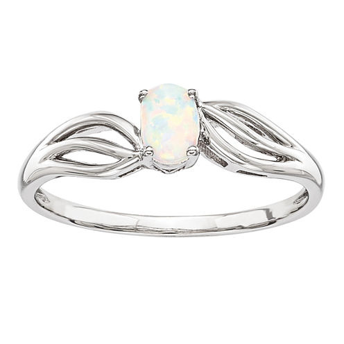 Womens Lab Created White Opal Sterling Silver Solitaire Ring