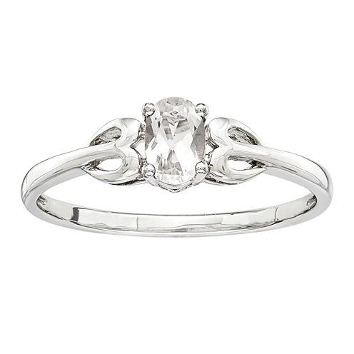 Womens Genuine White Topaz Sterling Silver Delicate Ring