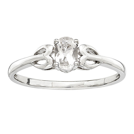 Womens Genuine White Topaz Sterling Silver Delicate Cocktail Ring