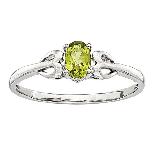 Womens Genuine Green Peridot Sterling Silver Delicate Ring