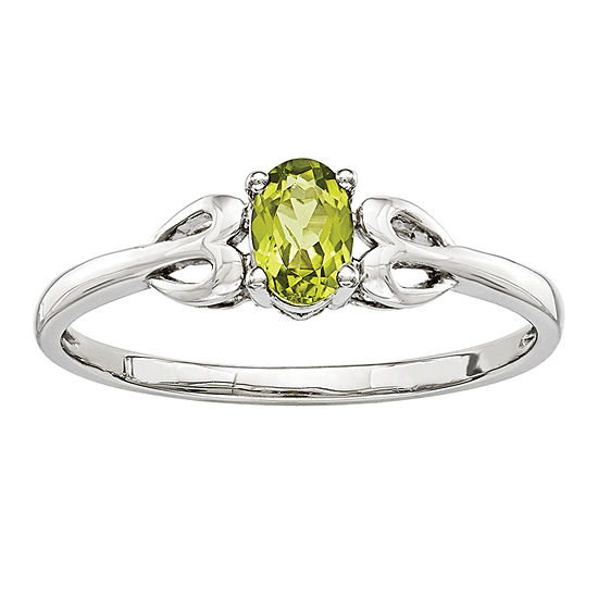 Womens Genuine Green Peridot Sterling Silver Delicate Cocktail Ring