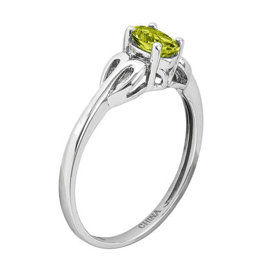 Womens Green Peridot Sterling Silver Delicate Ring