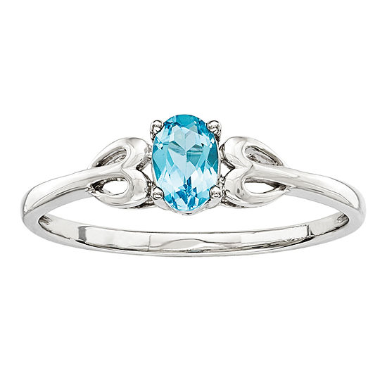 Womens Genuine Blue Topaz Sterling Silver Delicate Cocktail Ring