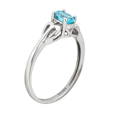 Womens Blue Blue Topaz Sterling Silver Delicate Ring