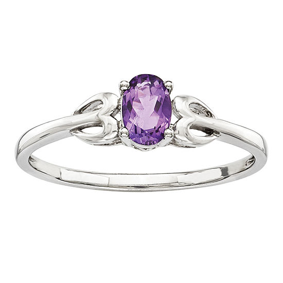 Womens Genuine Purple Amethyst Sterling Silver Delicate Cocktail Ring