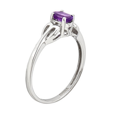 Womens Purple Amethyst Sterling Silver Delicate Cocktail Ring