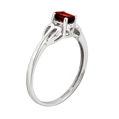 Womens Genuine Red Garnet Sterling Silver Delicate Cocktail Ring