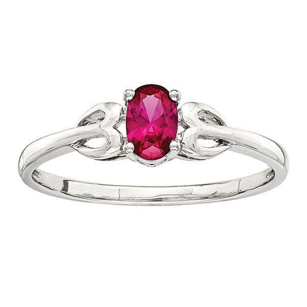 Womens Lab Created Ruby Sterling Silver Delicate Ring
