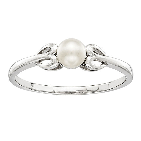 Womens 4MM White Cultured Freshwater Pearl Sterling Silver Delicate Cocktail Ring