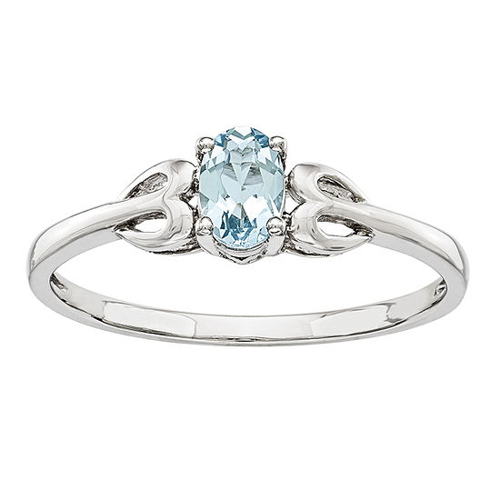 Womens Genuine Blue Aquamarine Sterling Silver Delicate Cocktail Ring