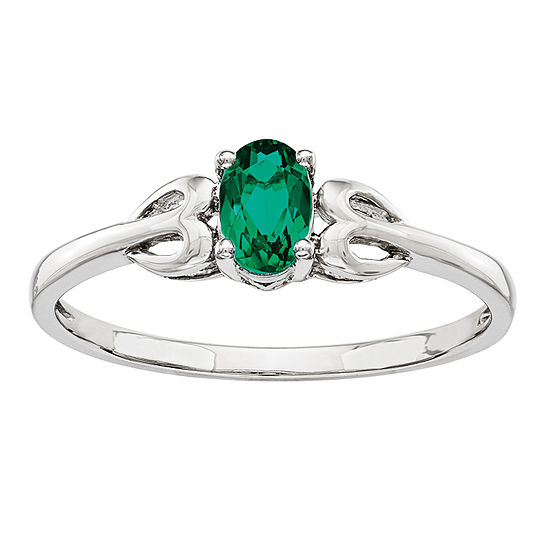 Womens Lab Created Green Emerald Sterling Silver Delicate Cocktail Ring