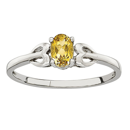 Womens Genuine Yellow Citrine Sterling Silver Delicate Cocktail Ring