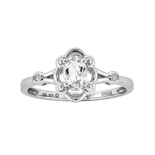 Womens Diamond Accent Genuine White Topaz Sterling Silver Delicate Ring