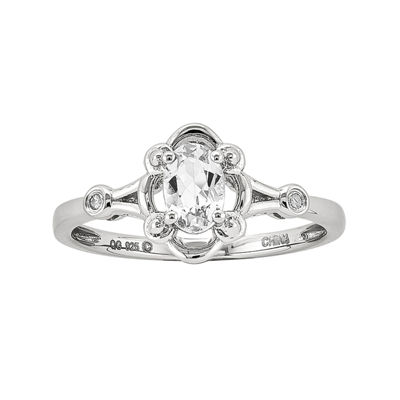 Womens Diamond Accent White Topaz Sterling Silver Delicate Ring