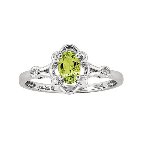 Womens Diamond Accent Genuine Green Peridot Sterling Silver Delicate Ring