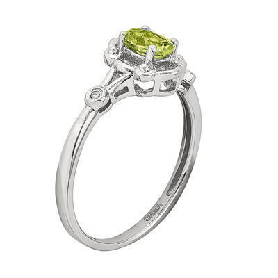 Womens Diamond Accent Genuine Green Peridot Sterling Silver Delicate Ring