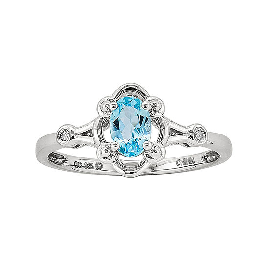 Womens Diamond Accent Genuine Blue Topaz Sterling Silver Delicate Cocktail Ring