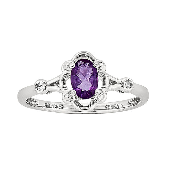 Womens Diamond Accent Genuine Purple Amethyst Sterling Silver Delicate Cocktail Ring