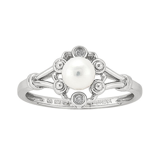 Womens Diamond Accent 5.-5.5MM White Cultured Freshwater Pearl Sterling Silver Delicate Cocktail Ring