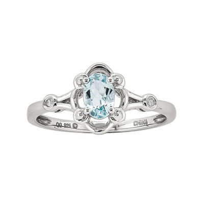 Womens Diamond Accent Blue Aquamarine Sterling Silver Delicate Cocktail Ring