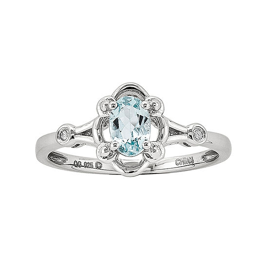 Womens Diamond Accent Genuine Blue Aquamarine Sterling Silver Delicate Cocktail Ring