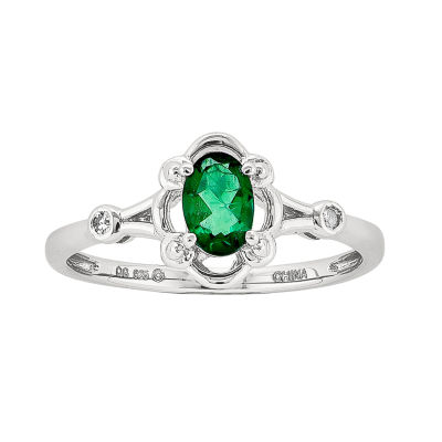 Womens Diamond Accent Lab Created Green Emerald Sterling Silver Delicate Ring