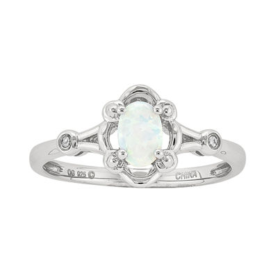 Womens Diamond Accent White Opal Sterling Silver Delicate Ring