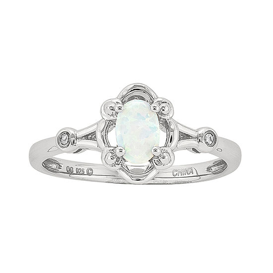 Womens Diamond Accent Lab Created White Opal Sterling Silver Delicate Cocktail Ring