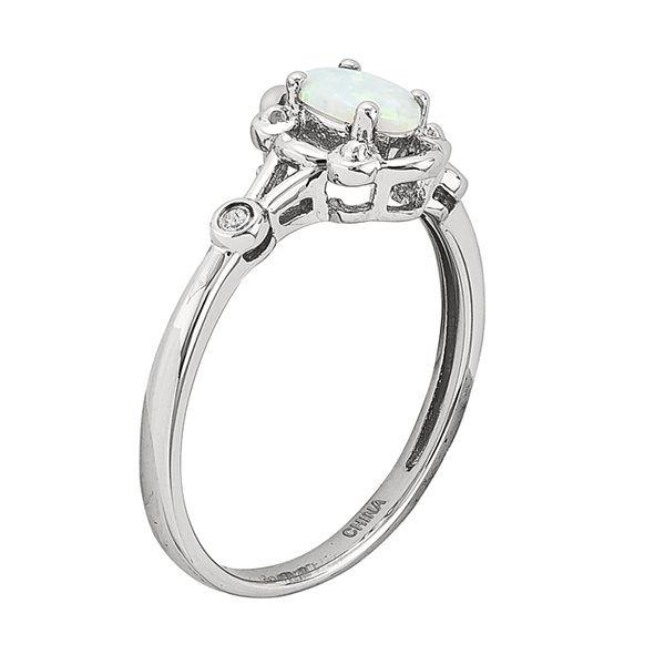 Womens Diamond Accent Lab Created White Opal Sterling Silver Delicate Ring