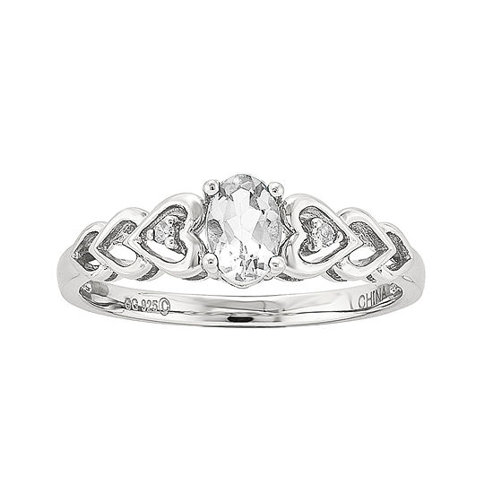 Womens Diamond Accent Genuine White Topaz Sterling Silver Delicate Cocktail Ring