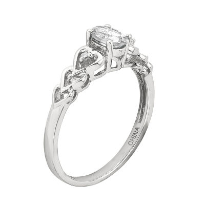 Womens Diamond Accent Genuine White Topaz Sterling Silver Delicate Ring