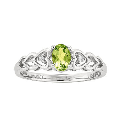Womens Diamond Accent Green Peridot Sterling Silver Delicate Ring