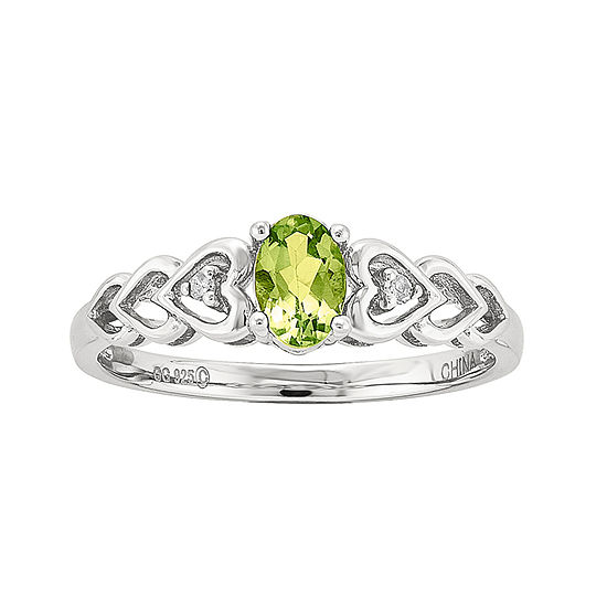 Womens Diamond Accent Genuine Green Peridot Sterling Silver Delicate Cocktail Ring