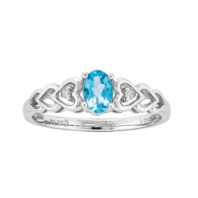Womens Diamond Accent Blue Topaz Sterling Silver Delicate Cocktail Ring